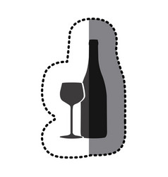 Sticker shading monochrome wine bottle and glass vector