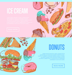 Street food flyers with takeaway menu vector