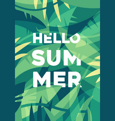 Summer banner tropical palm leaves jungles vector