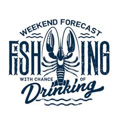 summer holiday t-shirt print fishing and drinking vector image