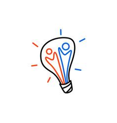 team people bulb lamp idea think creative logo vector image