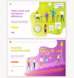 teamwork and workplace efficiency startup set vector image