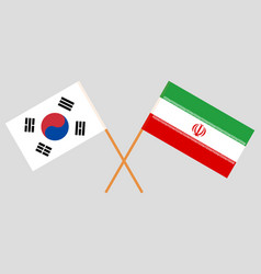 The korean and iranian flags vector