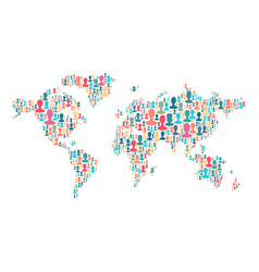the map of the world made of plenty people vector image