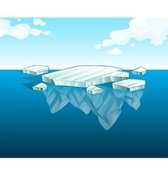 Thin iceberg on water vector