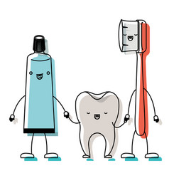 Toothpaste and tooth and toothbrush in cartoon vector