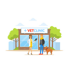 vet clinic building with doctor owner and dog vector image