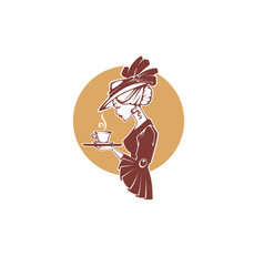 Victorian lady portrait holding with cup of tea vector