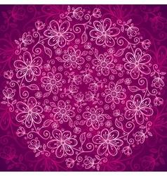 Vinous lacy vintage flowers background vector image