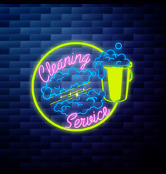 Vintage cleaning service emblem vector