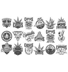 Vintage monochrome cannabis labels set vector