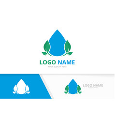 water droplet and leaves logo unique clean aqua vector image