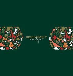 Wild animal biodiversity life concept banner vector