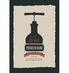 wine label with a picture of the bottle vector image