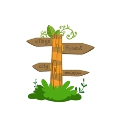 Wooden direction sign vector