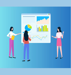 workteam of women showing diagrams on board vector image