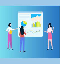 workteam women showing diagrams on board vector image