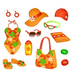 beach accessories for woman vector image