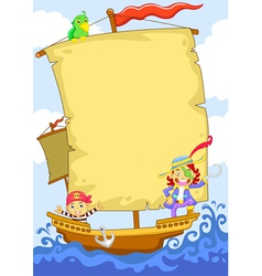 Cartoon Pirate Banner Ship vector image vector image