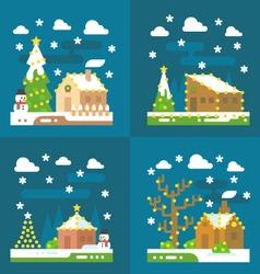 Christmas light decoration flat design vector image