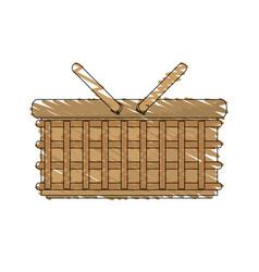 Drawing wicker basket picnic image vector