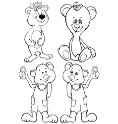 Four outline funny bear vector image