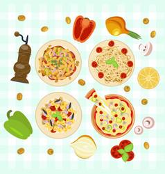 italian food dishes vector image