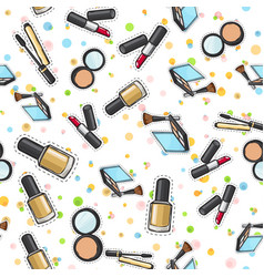 seamless pattern nail polish powder lipstick vector image