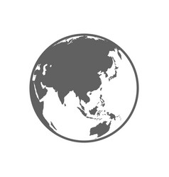 white and gray flat globe symbol vector image