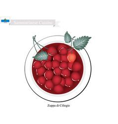 Zuppa di ciliegie or sammarinese cold cherry soup vector