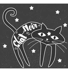 Black cat art vector image vector image
