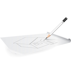 board for drawing with pencil and triangle vector image vector image