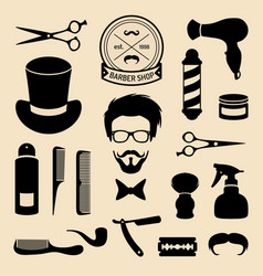 set of barbershop icons with hipster face vector image vector image