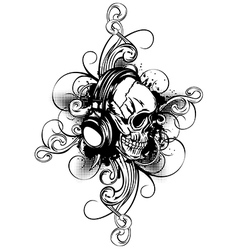 skull in headphones and patterns vector image