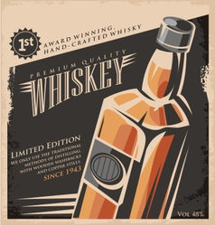 Whiskey vintage poster design template vector image vector image