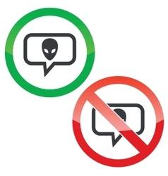 Alien message permission signs vector image