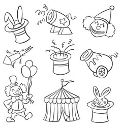 element circus of doodle style vector image vector image