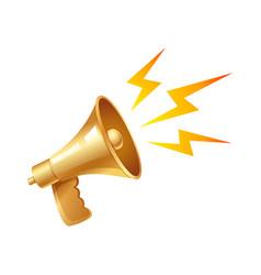 golden vintage megaphone vector image