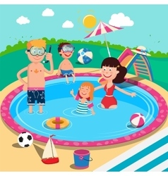Happy Family in Swimming Pool Summer Vacation vector image