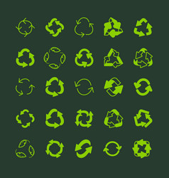 recycling ecology thin line icon set vector image vector image