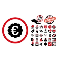 Euro Quality Seal Flat Icon with Bonus vector image vector image