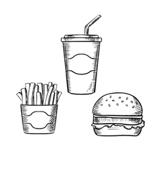 Hamburger french fries and soda cup vector image