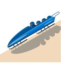 people moving down on bobsled on high speed vector image vector image
