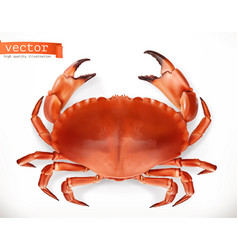 red crab 3d icon seafood realism style vector image vector image