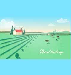 spectacular rural landscape with farm building vector image vector image