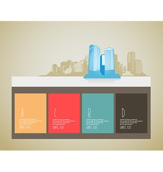 Website template with skyscrapers and 4 blocks for vector image vector image
