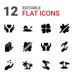 12 palm icons vector image