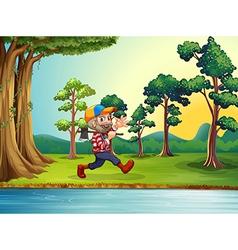 A happy woodman walking at the riverbank vector