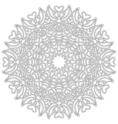 Adult coloring book lovely mandala black and white vector