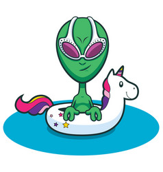 Alien swimming with inflatable unicorn vector